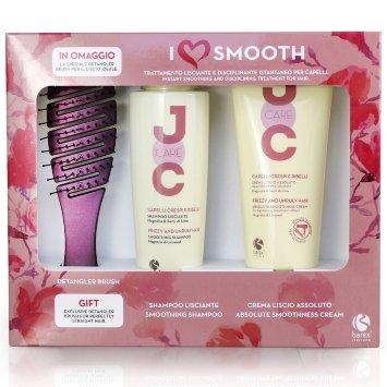 Набор «I Love Smooth» (шампунь разглаживающий 250 мл + крем идеальное выпрямление 200 мл + щетка) JOC CARE / Barex