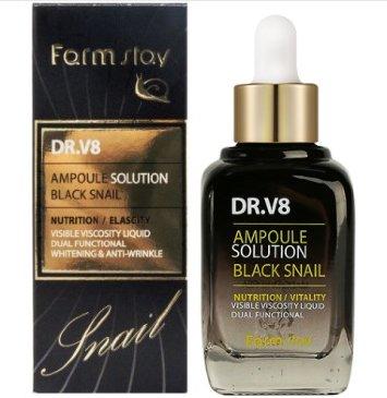 Ампульная сыворотка  с муцином черной улитки, 30 мл, DR-V8 Ampoule SoluTion Black Snail / Farmstay
